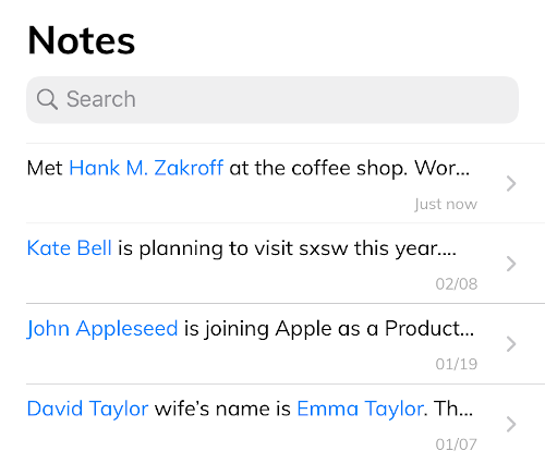View and Search notes