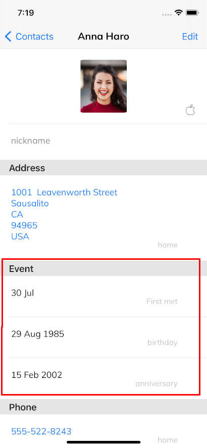 Events in Contacts